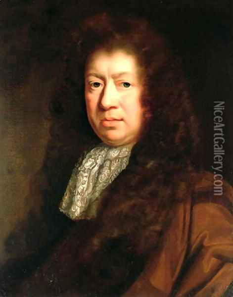 Portrait of Samuel Pepys Oil Painting - John Riley