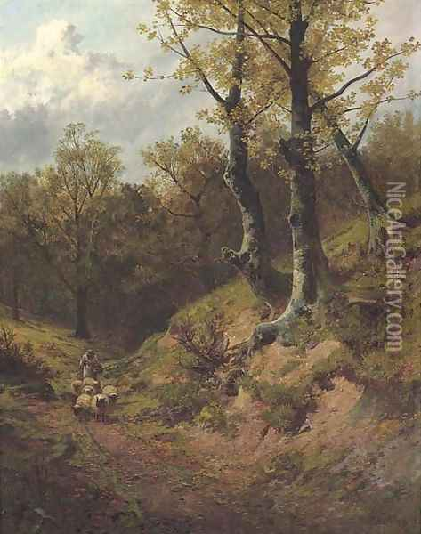 A shepherd returning home Oil Painting - Leopold Rivers