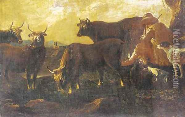 A herdsman resting with his cattle and dog Oil Painting - Philipp Peter Roos