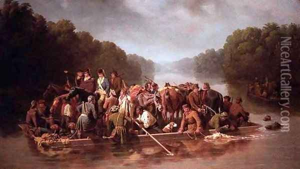 Marion Crossing the Peedec Oil Painting - Wm. Ramey