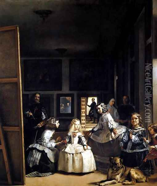 Las Meninas or The Family of Philip IV 1656-57 Oil Painting - Diego Rodriguez de Silva y Velazquez