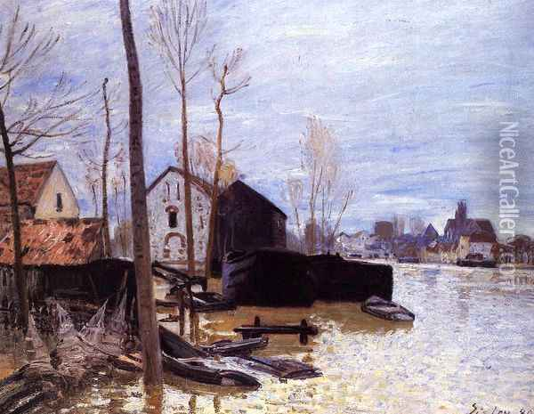 Flooding at Moret Oil Painting - Alfred Sisley
