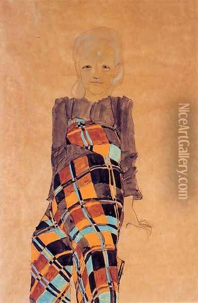 Seated Girl Oil Painting - Egon Schiele