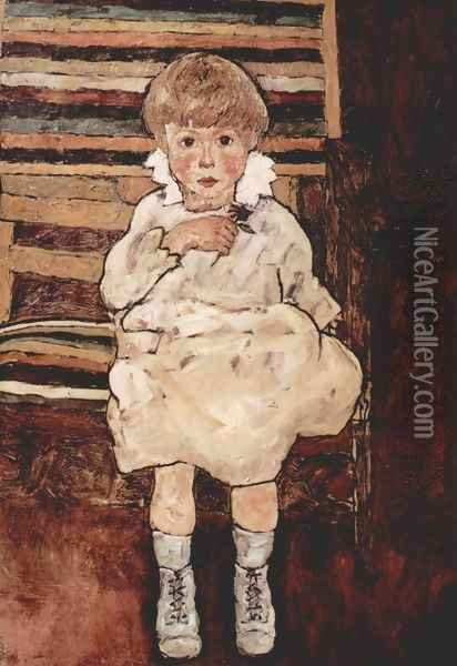 Sitting child Oil Painting - Egon Schiele