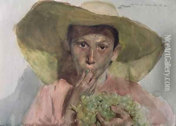 Boy Eating Grapes, 1890 Oil Painting - Joaquin Sorolla Y Bastida