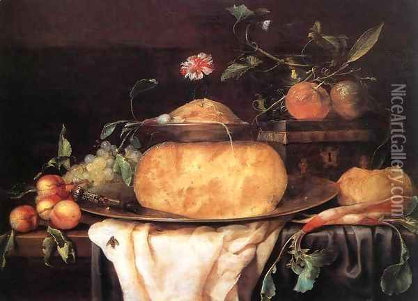 Still-Life with Cheese 1650s Oil Painting - Joris Van Son