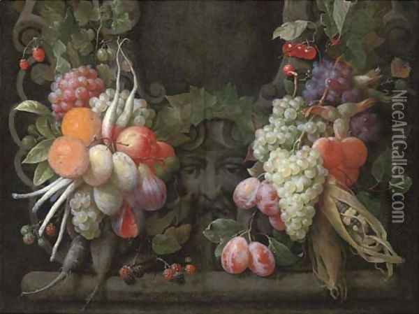 Grapes, gooseberries, blackberries, figs, oranges, plums, radishes, asparagus, maize, cherries and other fruits surrounding a stone cartouche Oil Painting - Joris Van Son