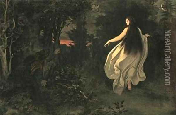 Apparition in the forest Oil Painting - Moritz Ludwig von Schwind