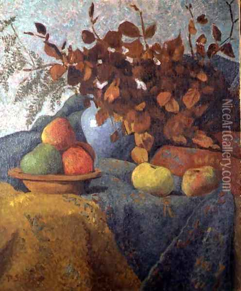 Still Life of Apples and Autumn Leaves, 1910 Oil Painting - Paul Serusier