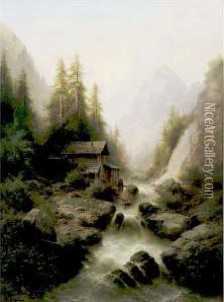 Old Watermill By The Waterfall Oil Painting - Albert Rieger