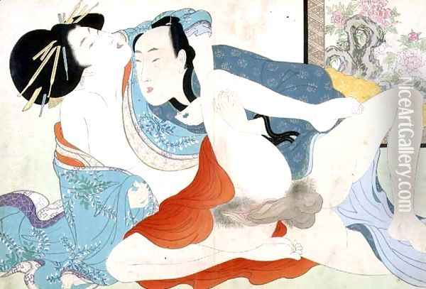A couple having sex, 1880s-90s Oil Painting - Meiji Shunga