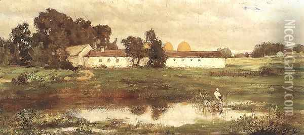 Puszta with Stork 1870 Oil Painting - Pal Merse Szinyei