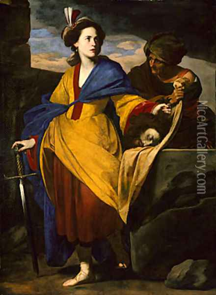 Judith with the Head of Holofernes ca 1630 Oil Painting - Massimo Stanzione