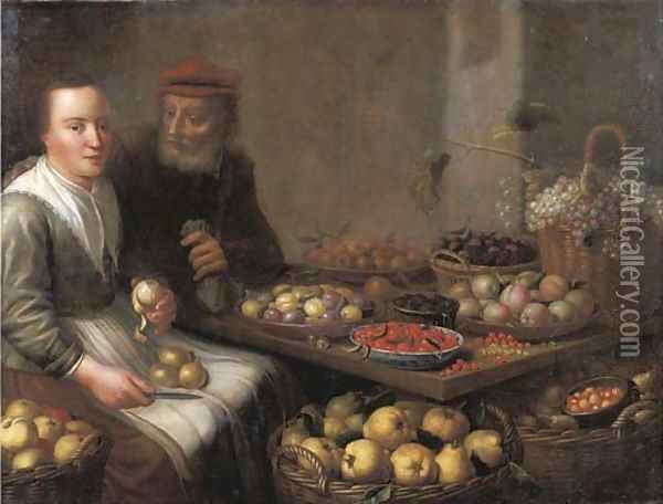 A kitchen interior with a peasant woman peeling a pear, at a table with grapes, plums, blackberries, cherries and other fruits on earthenware plates Oil Painting - Floris Gerritsz. van Schooten