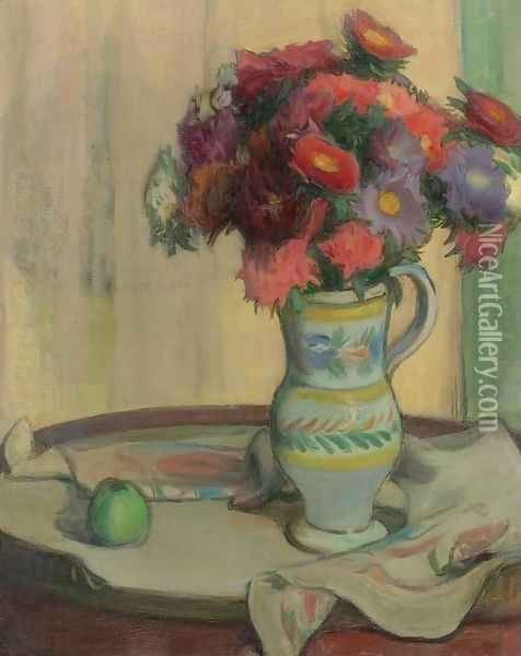 Green Apple and Flowers Oil Painting - Wladyslaw Slewinski