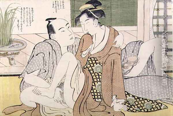 A Shunga erotic print a man pleasures his female lover, c.1785 Oil Painting - Yushido Shunsho