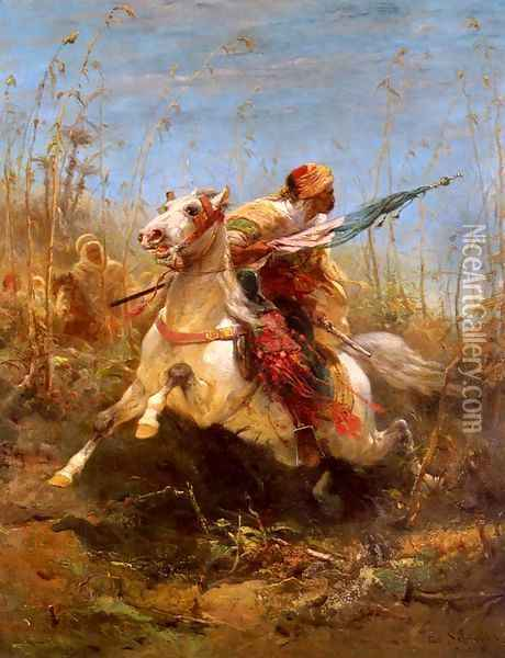 Arab Warrior Leading A Charge Oil Painting - Adolf Schreyer