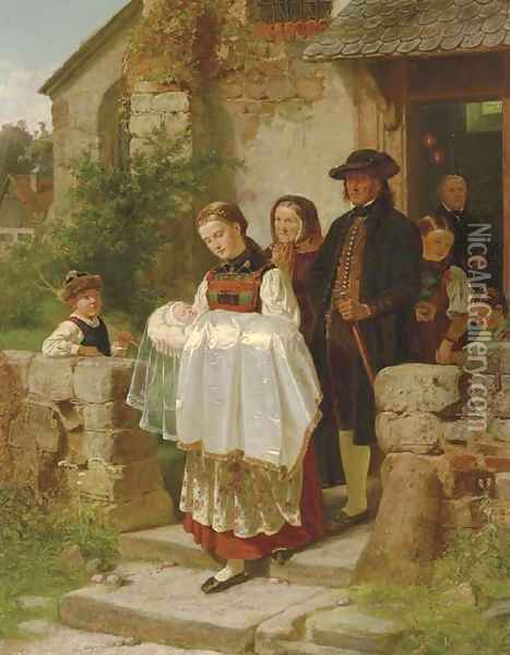 Coming Home from the Christening Oil Painting - Hubert Salentin