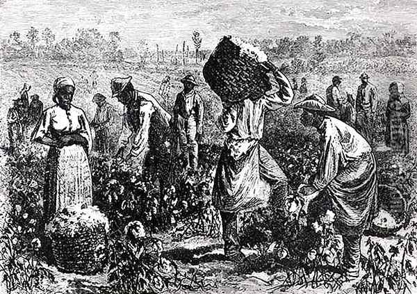Slaves Picking Cotton on a Plantation Oil Painting - William Ludlow Sheppard