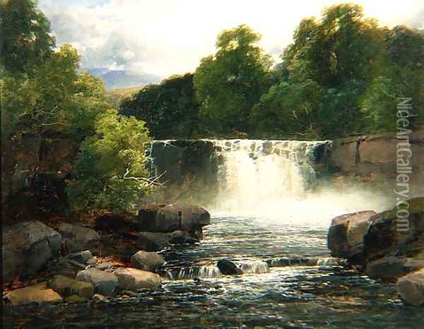 Waterfall on the Lesser Neath Oil Painting - John Brandon Smith