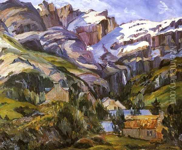 Houses at the Base of Snow Capped Mountains Oil Painting - George Gardner Symons