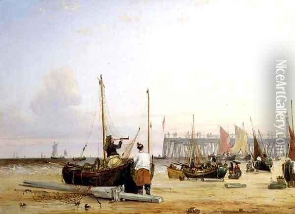 Yarmouth Jetty, Isle of Wight Oil Painting - Alfred Stannard
