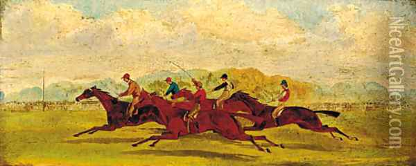 The final furlong Oil Painting - English School