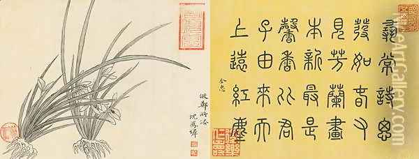 Leaf 8a and 8b, from Master Shen Fengchis Orchid Manuel Vol. III, 1882 Oil Painting - Zhenlin Shen