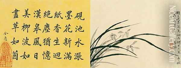 Leaf 6a and 6b, from Master Shen Fengchis Orchid Manual Vol. I, 1882 Oil Painting - Zhenlin Shen