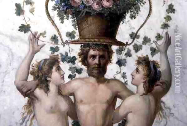 Male figure supporting a basket of flowers with nymphs, detail of pilaster decoration, c.1870s, repainted by art students in 1945 Oil Painting - & Bayinov Saltinov