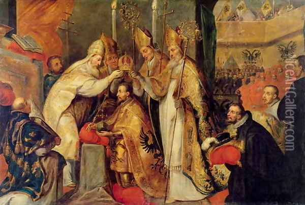 The Coronation of Charles V 1500-58 Holy Roman Emperor Oil Painting - Cornelius I Schut