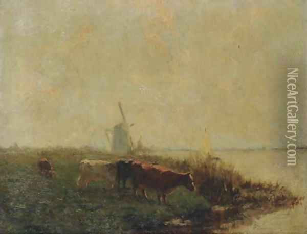 Cows in a polder landscape Oil Painting - Dutch School
