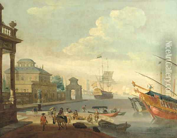 A Capriccio of a Mediterranean harbour with galleys and a merchantman Oil Painting - Abraham Storck