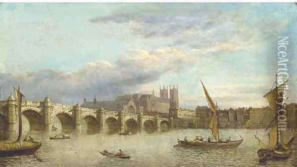 Vessels on the Thames, with Westminster Bridge and Abbey beyond; and View down the Thames of London Bridge Oil Painting - Samuel Scott