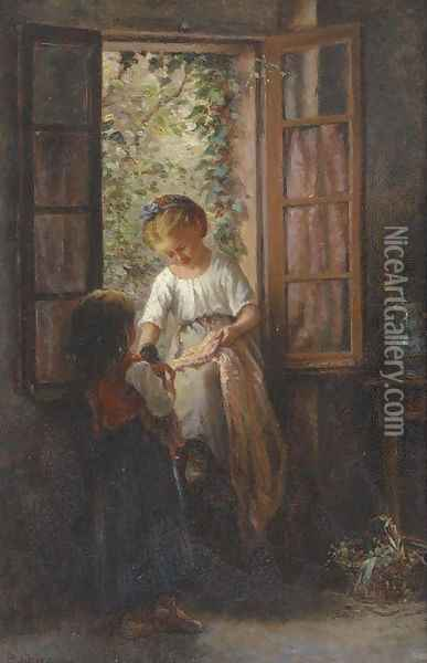 Playmates at the kitchen window Oil Painting - Philippe Francois Sauvage