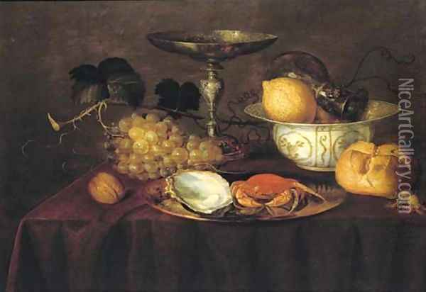 A silver dish with an oyster and a crab, a walnut, white grapes, a silver 'tazza', a porcelain bowl Oil Painting - Theodoor Smits
