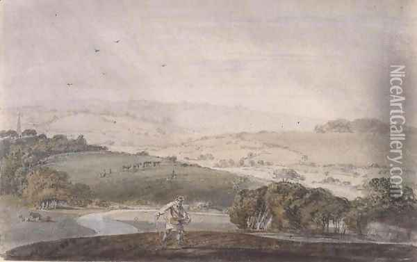 A Farmer Sowing, with a River Valley and Rolling Hills Beyond, c.1795 Oil Painting - Joseph Mallord William Turner