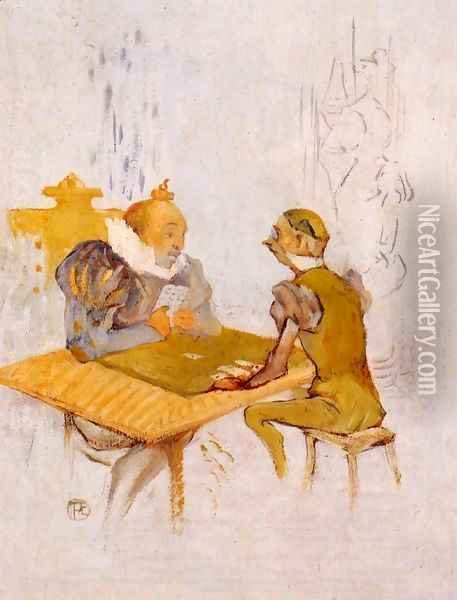Le Belle et la Bete - Le Besigue Oil Painting - Henri De Toulouse-Lautrec