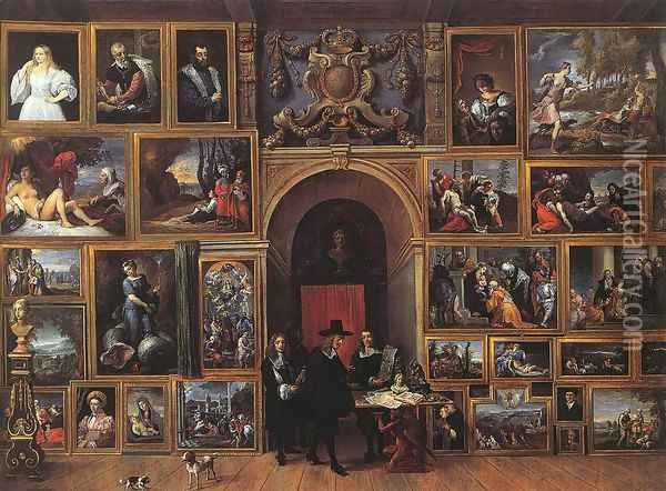 Archduke Leopold Wilhelm of Austria in his Gallery 1651 Oil Painting - David The Younger Teniers