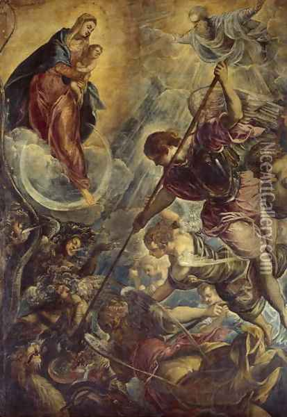 Archangel Michael Fights Satan, c.1590 Oil Painting - Jacopo Tintoretto (Robusti)