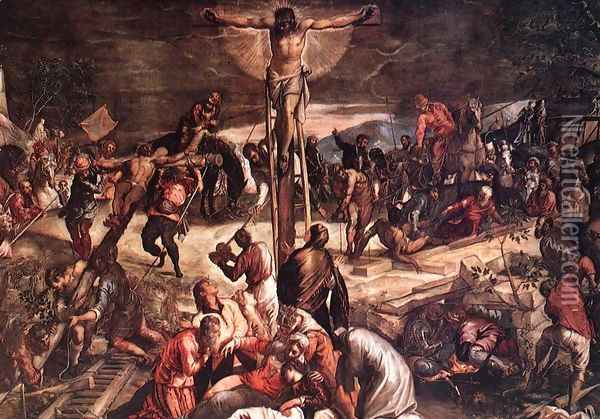 Crucifixion (detail) 3 Oil Painting - Jacopo Tintoretto (Robusti)