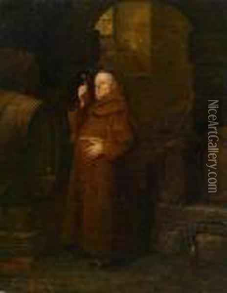 Monk At The Wine Tasting Oil Painting - Eduard Von Grutzner