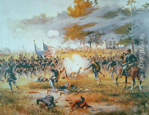 The Battle of Antietam, 1862 Oil Painting - Thure de Thulstrup