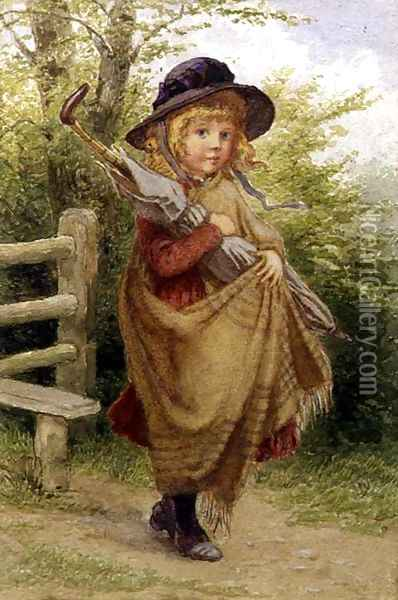 Umbrella Girl Oil Painting - Percy Tarrant