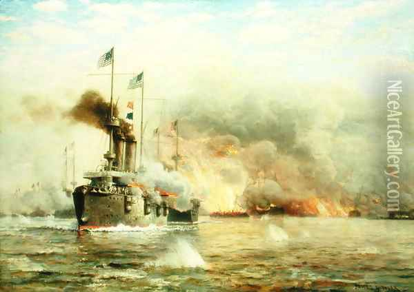 Battleships at War Explosion Oil Painting - James Gale Tyler