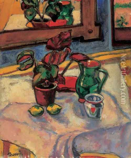Still-life with Flowes in a Pot 1909 Oil Painting - Lajos Tihanyi