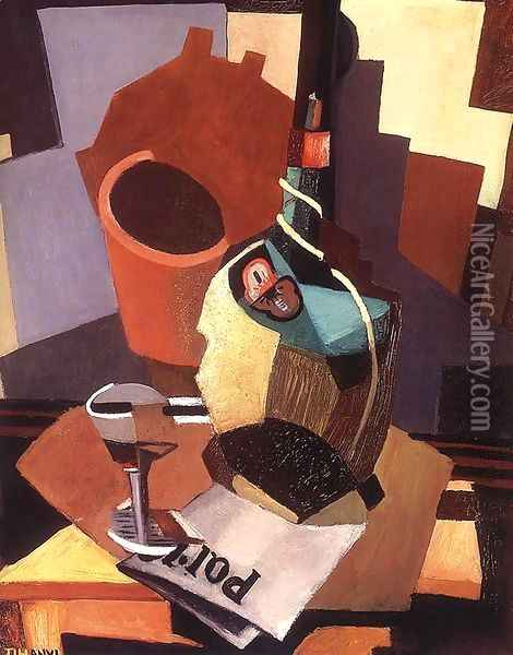 Still-life with Bottle and Glass 1926-28 Oil Painting - Lajos Tihanyi