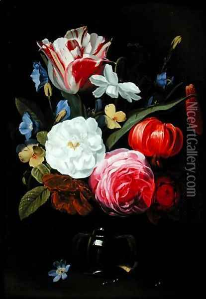 Still Life with Flowers in a Glass Vase 3 Oil Painting - Jan Philip van Thielen