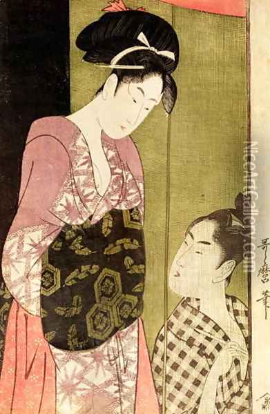 A Man Painting a Woman Oil Painting - Kitagawa Utamaro