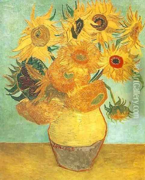 Vase With Twelve Sunflowers II Oil Painting - Vincent Van Gogh